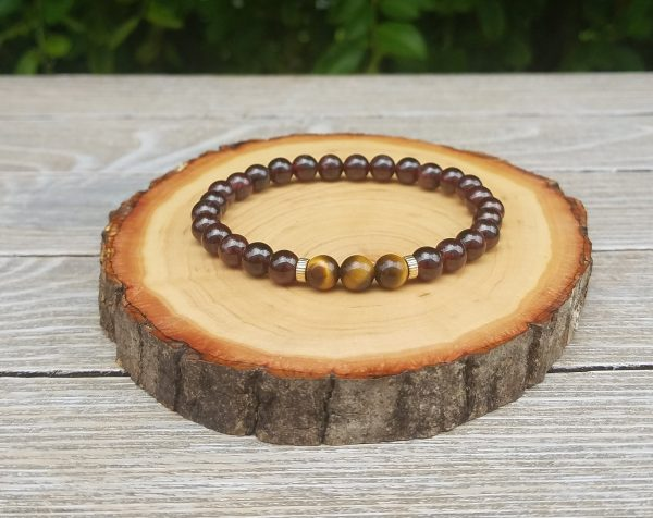 dainty tigers eye garnet bracelet